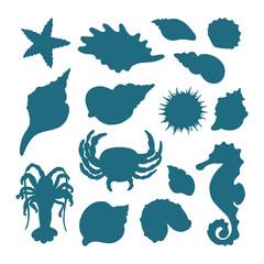 Vector set of crab, sea horse, starfish, cancer, seashells