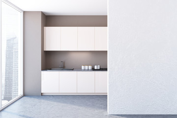 White panoramic kitchen interior mock up wall