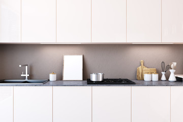 White kitchen countertop, poster