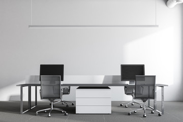 White wall office, front view, dark gray