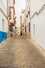 Beautiful views and streets of Frigiliana, village of Malaga on a summer day