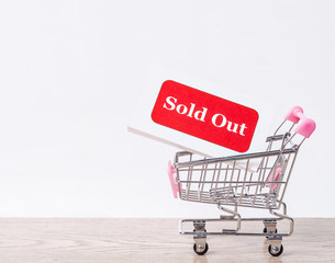 Sold Out tag in shopping cart.
