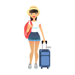 Travel female tourist standing with luggage. Young flat woman wearing casual clothes with baggage at airport. Vector cute lady with travel bag and backpack. Travel lifestyle concept