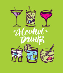 Modern hand drawn for alcohol cocktails isolated on background.