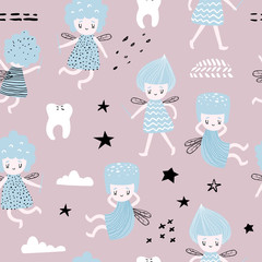Childish Seamless Pattern with Cute Fairy. Fairytale Girlish Background for Fabric, Print, Wrapping, Wallpaper. Vector illustration