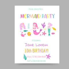 Childish Birthday Invitation Template with Cute Mermaid and Underwater Creatures. Girls Celebration Party Decoration. Hand Drawn Greeting, Baby Shower. Vector illustration