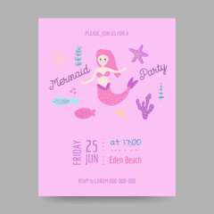 Childish Birthday Invitation Template with Cute Mermaid and Underwater Creatures. Children Celebration Party Decoration. Vector illustration