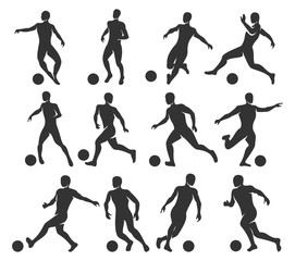 Silhouettes of football players. Soccer players with with ball