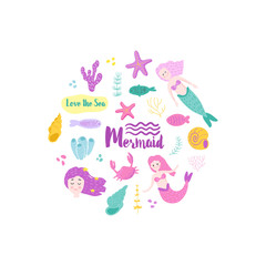 Childish Card with Cute Mermaids and Underwater Creatures. Little Girl Hand Drawn Marine Doodle for Greeting, Baby Shower, Print. Vector illustration