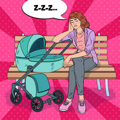 Pop Art Sleepless Young Mother Sitting on the Park Bench with Baby Stroller. Motherhood Concept. Exhausted Woman with Newborn Child. Vector illustration