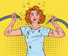 Pop Art Beautiful Woman Holding Broken Electrical Cable after Domestic Accident. Vector illustration