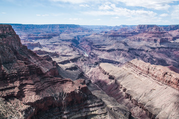 Sheer slopes of the canyon under the sun's rays