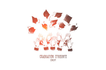 Graduation students concept. Hand drawn hands of students throwing graduation hats in air. Graduation and education concept isolated vector illustration.