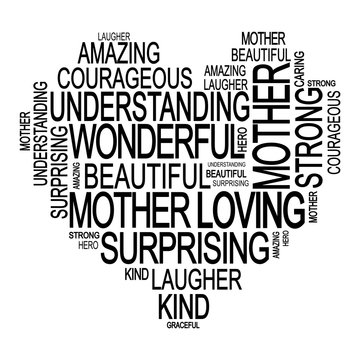 Mother's day illustration. Tags cloud with words about mother