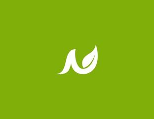 letter N leave logo design element