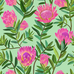 Floral Seamless Pattern with Hand Drawn Protea Flowers. Botanical Decorative Background for Fabric, Wrapping Paper, Wallpaper, Textile. Vector illustration