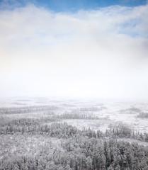 Snow windstorm in beginning winter, bird's eye view