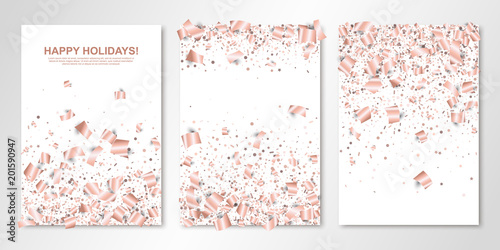 Banners Set With Falling Rose Gold Paper Confetti On White Vector