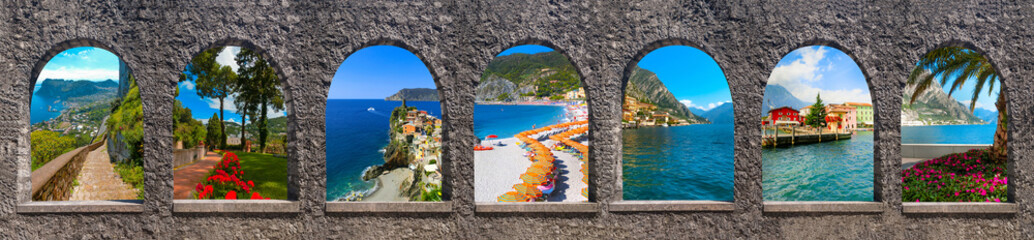 Capri, beautiful and famous island in the Mediterranean Sea Coast, Naples. Italy. Collage Wall mural