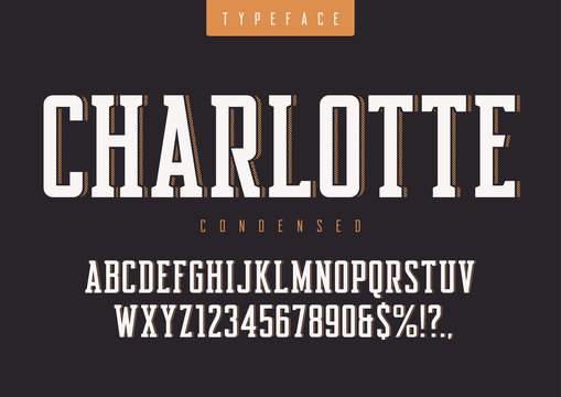 Charlotte vector condensed retro typeface, uppercase letters and