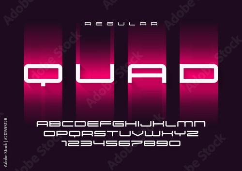 Quad vector regular futuristic sports typeface, uppercase