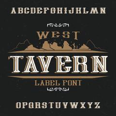 Vintage label font named Tavern.