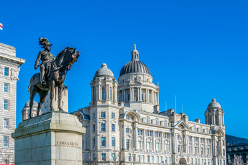 Port of Liverpool building with statue of Edward VII in Liverpool, England