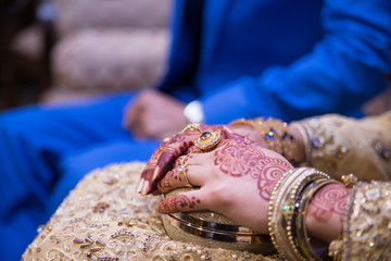 beautiful bride groom hands together holding wedding day