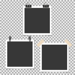 Photo frame with pin, clip and with sticky tape on grey background. Vector template