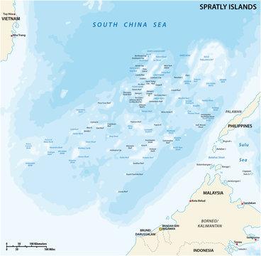 spratly islands vector map