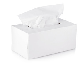 Opened  tissue box isolated on a white background.