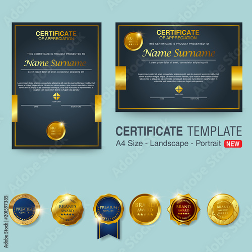 Beautiful Certificate Template Design With Best Award Symbol Stock