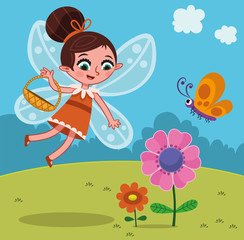 Cartoon fairy character with flowers. (Vector illustration)