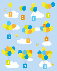 balloons with numbers / educational poster for preschool / numbers 1-10