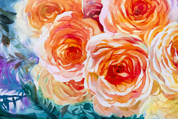 Painting flora art watercolor original  illustration orange,red color of roses