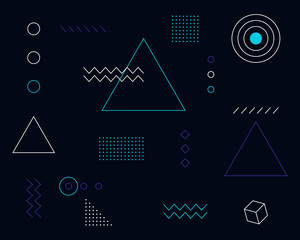 Digital technology abstract background bauhaus
