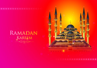 Ramadan Kareem Greetings for Ramadan background with Islamic Mosque