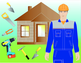 Illustration of a builder, a house and a construction tool