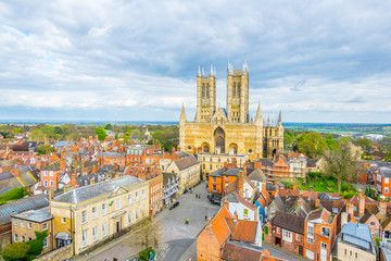 Aerial view of the lincoln cathedral, England Fotomurales