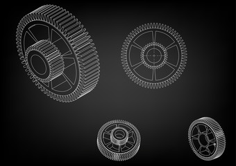 3d model of a cogwheel on a black