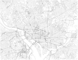 Washington, D.C. mappa, è la capitale degli Stati Uniti d'America. Strade della capitale, vista satellitare. Distretto di Colombia