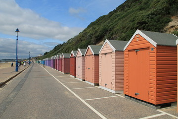 Beach huts on a summers day in Bournemouth