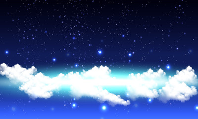cloudy starry night sky