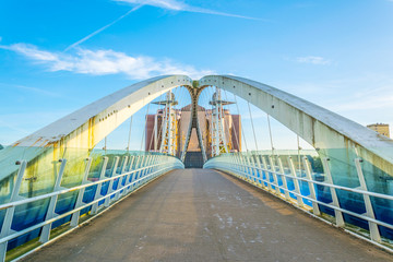 View of a footbridge in Salford quays in Manchester, England