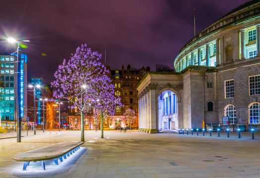 Night view of the Manchester central Library, England