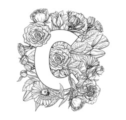 Vintage flower alphabet. Hand drawn vector illustration Isolated on white background. My portfolio have other letters.
