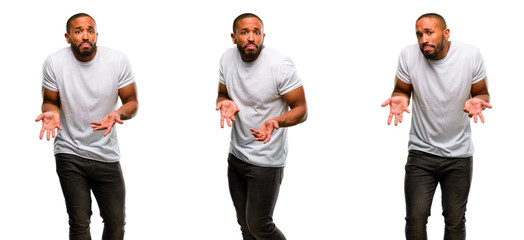 African american man with beard doubt expression, confuse and wonder concept, uncertain future
