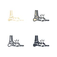Foot broken bone medical icon vector flat silhouette colored line