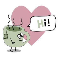 Cartoon flat vector cup of tea