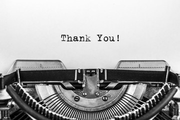 Thank You! text typed words on a old Vintage Typewriter. Close-up